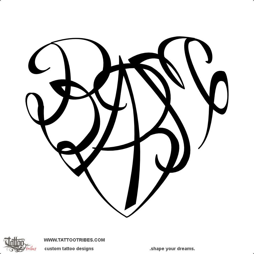 B A B M Heart Union This Heartigram Tattoo Shaped By The Union Of The Letters B A B M Represents The Family Union Tattoo Custom Tattoo Design V Letter Tattoo