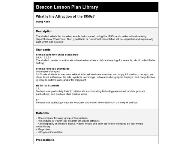 What Is The Attraction Of 1950s 5th Grade Lesson Plan