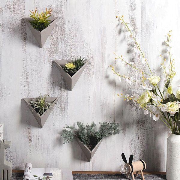 3d Cement Wall Planter Creative Flower Arrangements Triangle Wall Flower Pots