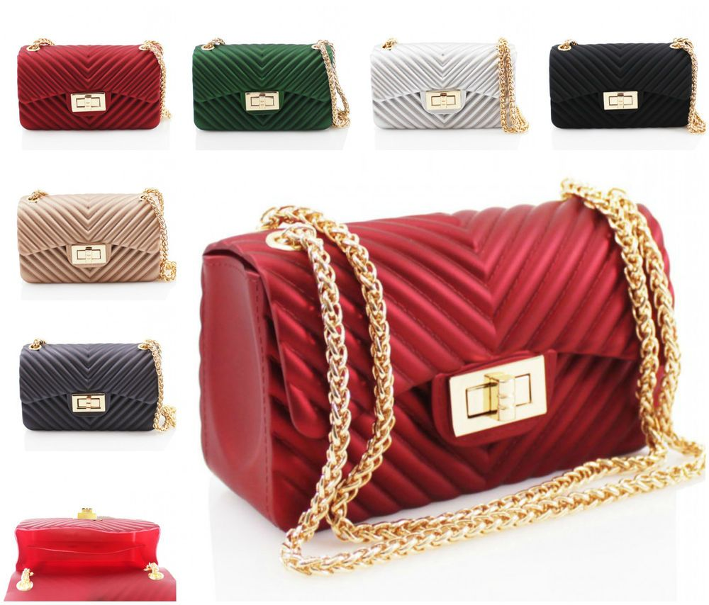 c2c6f04c65 Women SV18 Fancy Party Small Cross Body Bags Ribbed Ladies Chain Strap Box  Shape