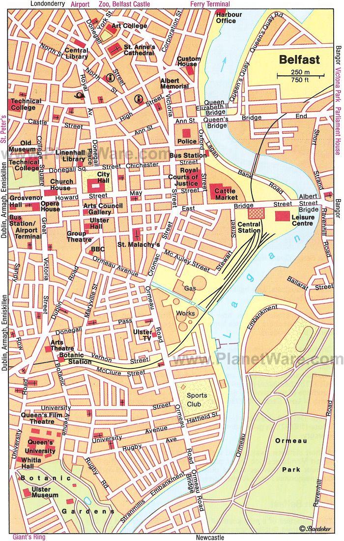 Belfast Map Tourist Attractions Ireland Pinterest Belfast