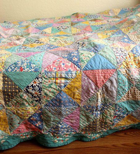 Details About Pinwheel Vintage Quilt Reversible Feed Sack