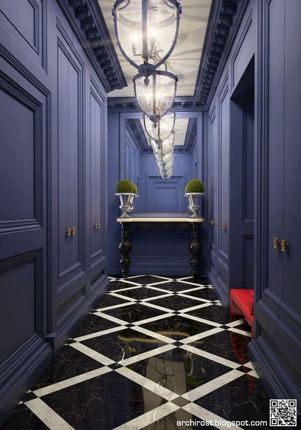 Blue Neoclassical By Rostislav Nikolaev Via Behance Classic House Interior Country House Interior Hallway Designs