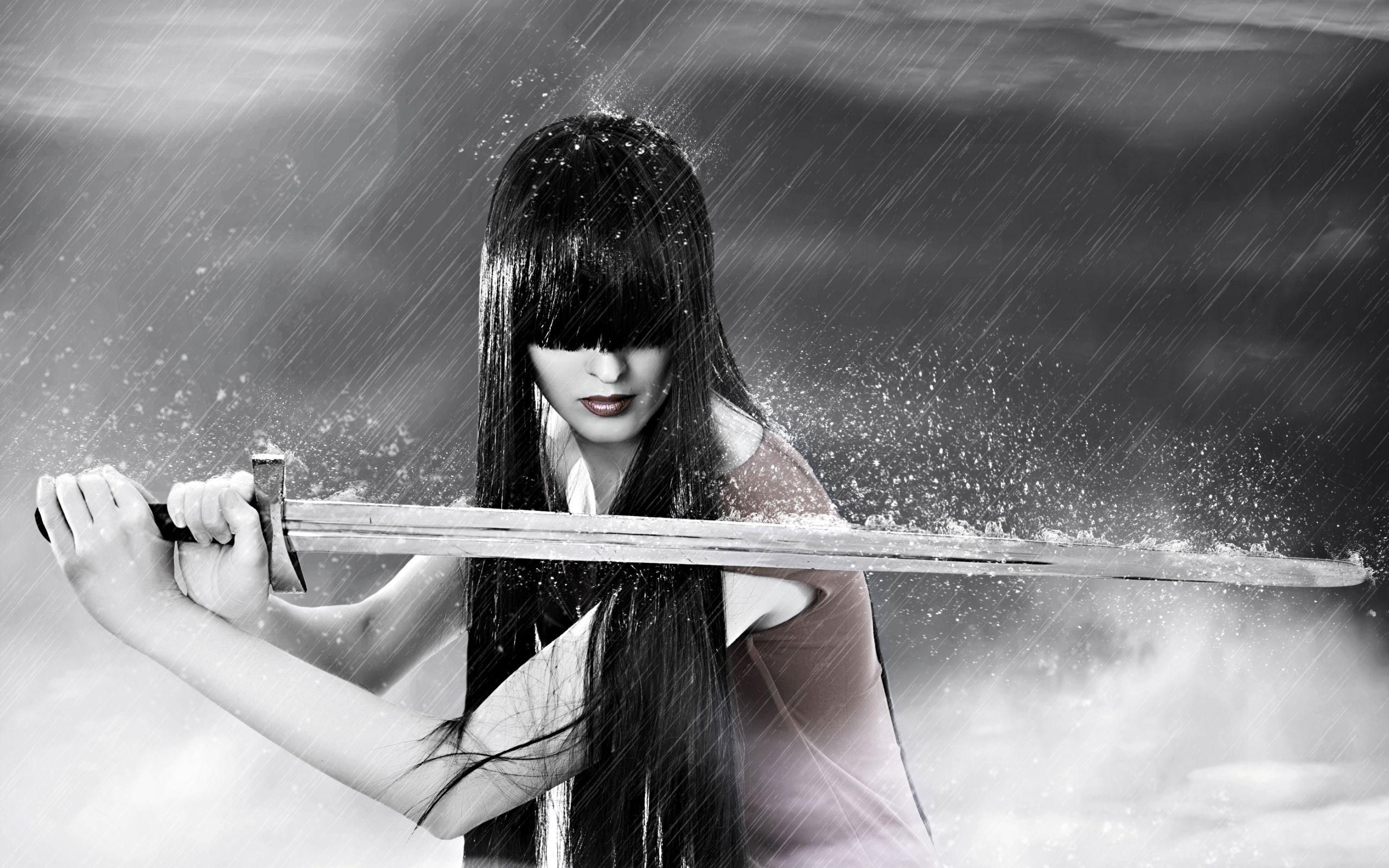 Women Warrior Artwork Sword Rain Cyberpunk Cyberpunk: Sword Warrior Girl In Rain Wallpapers