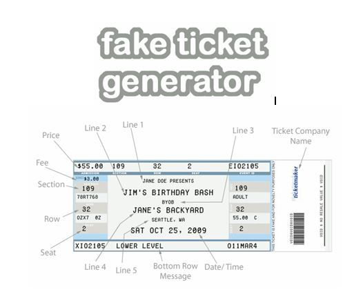 Fake Ticket Generator   Create Your Very Own Novelty Concert Ticket! Templates  FreeResume ...  Create A Ticket Template Free