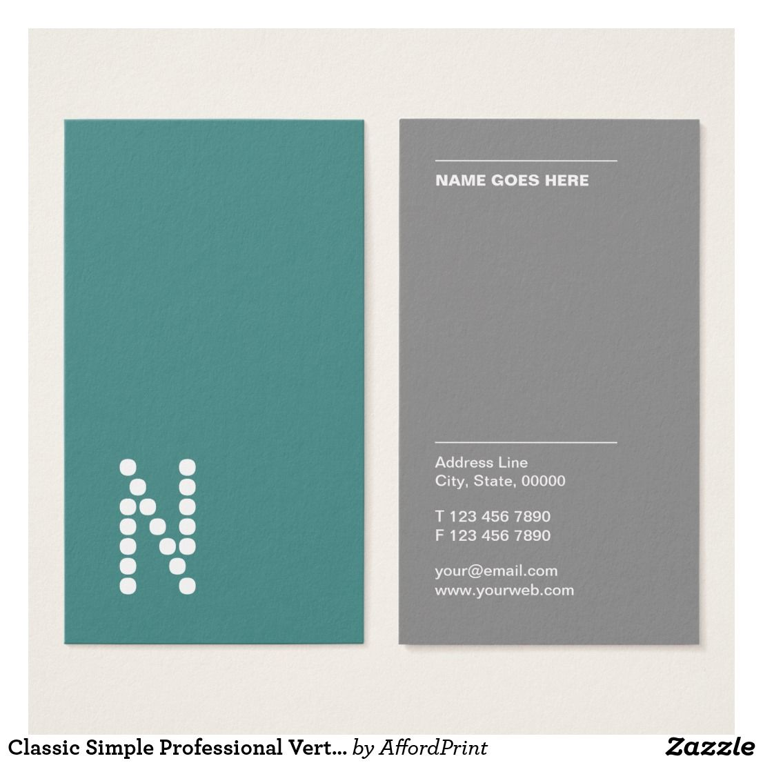Classic Simple Professional Vertical Business Card Zazzle Com Vertical Business Cards Name Card Design Customizable Business Cards