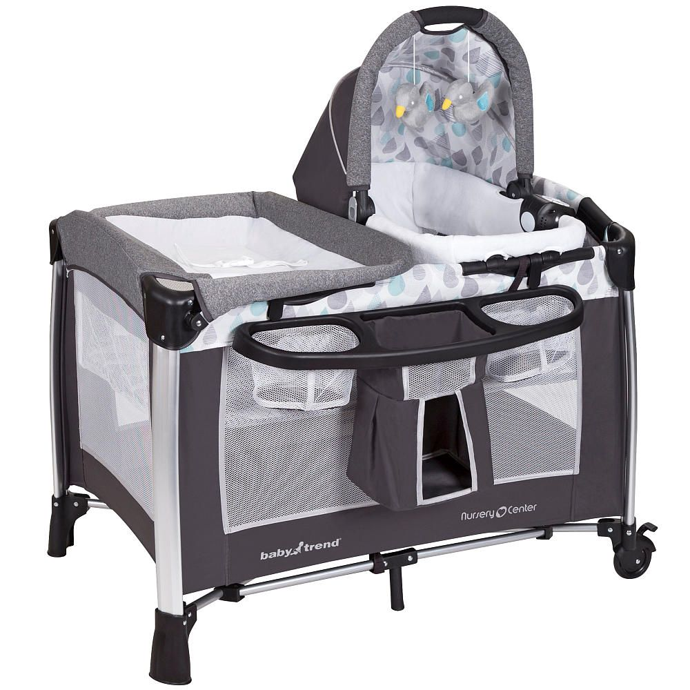 the baby trend golite elx nursery center in drip drop blue  - future baby