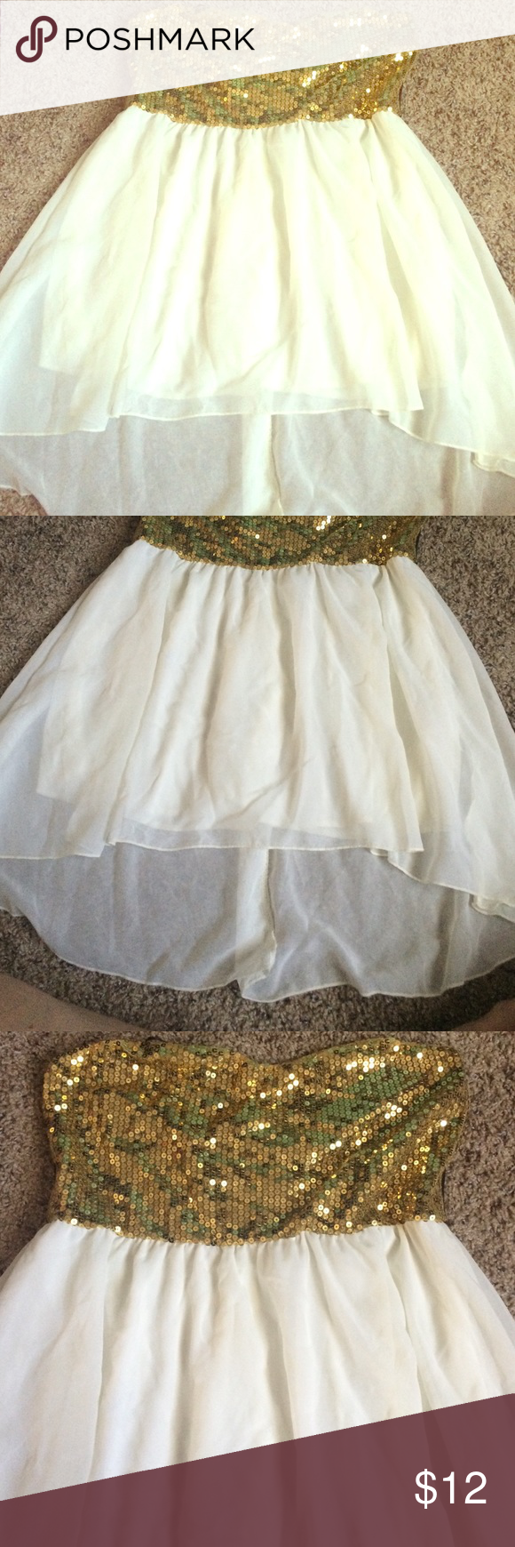 Gold sequin ivory flowy tube top Gold sequin ivory flowy tube top, great to dress up for the holidays! Deb Tops Blouses