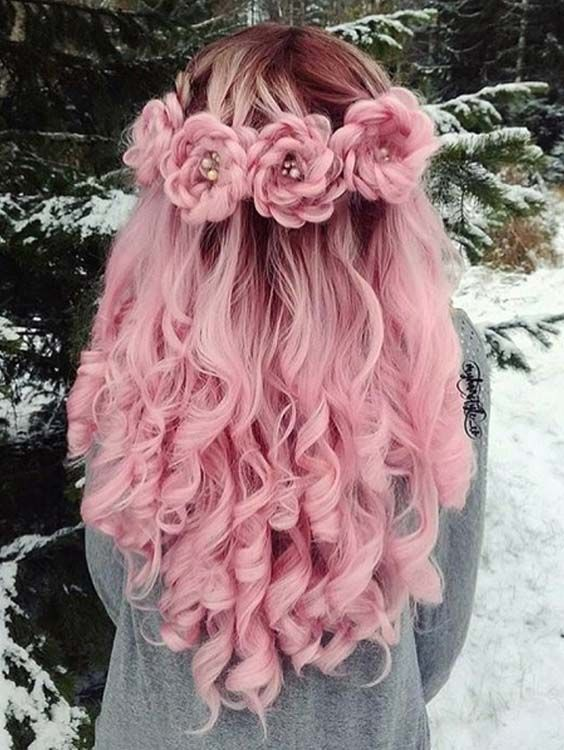 unique tea pink braided hairstyles