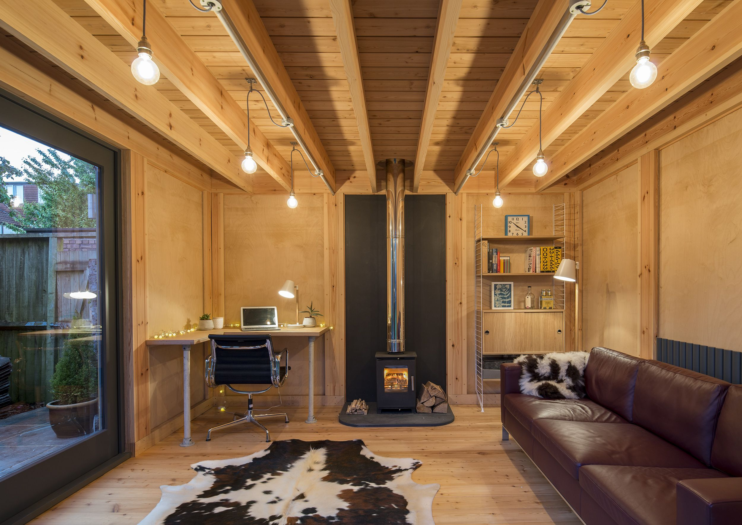 home office cabin. Home Office Cabin, Woodburning Stove And Timber Interior Cabin E