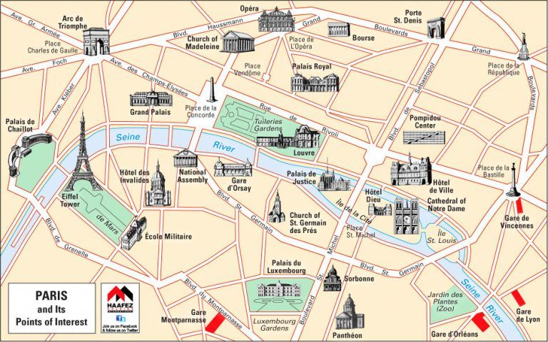 Download Map Paris France Attractions Major Tourist Maps And ...