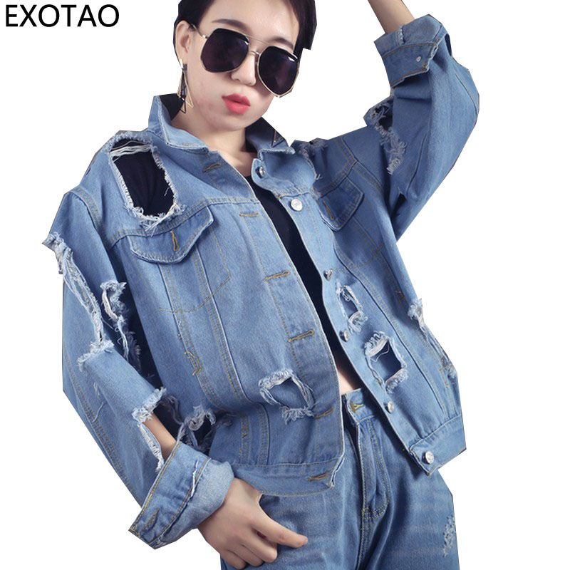 69f9814631640 Harajuku Ripped Denim Jackets for Women Large Holes Coats Female 2017  Autumn Loose Chaquetas Plus Size