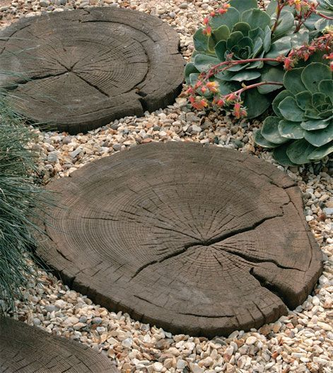 Making A Wonderful Garden Path Ideas Using Stones: Concrete Step Stones That Look Like Wood