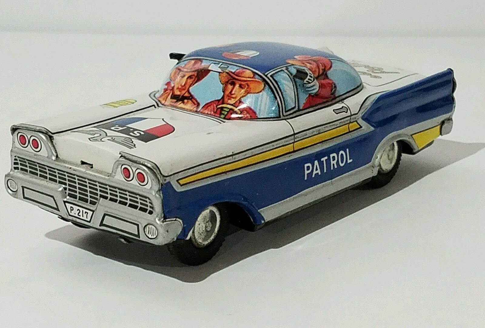 vintage tin friction state police car toy made in Japan