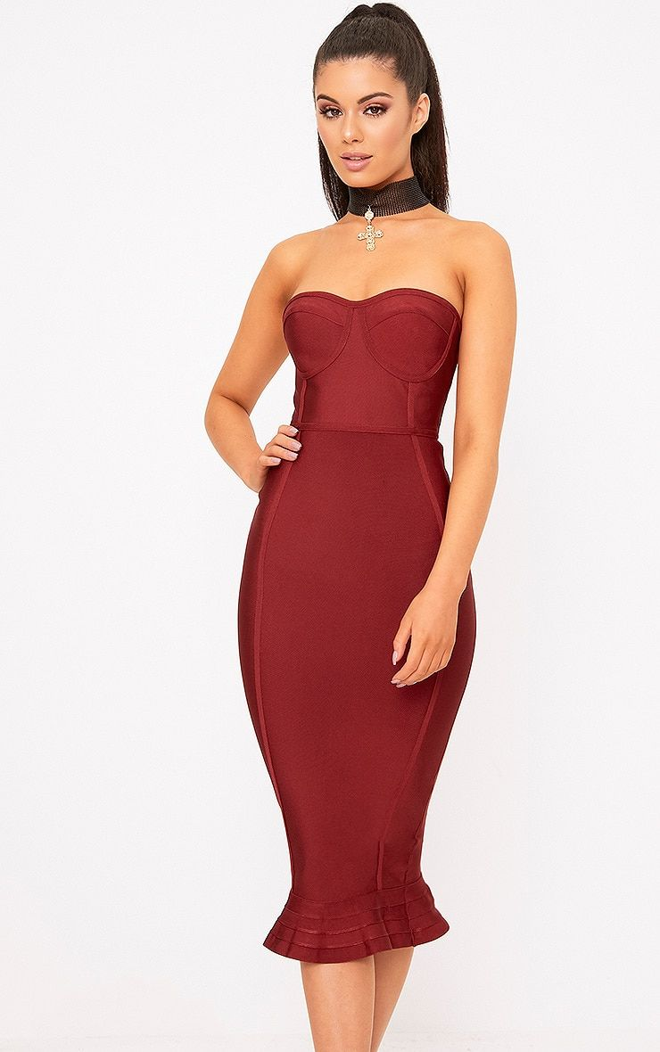 a6eb129a7 Dark Red Bandage Frill Hem Midi DressWork sexy vibes this season in this  totally dreamy bodycon-t.