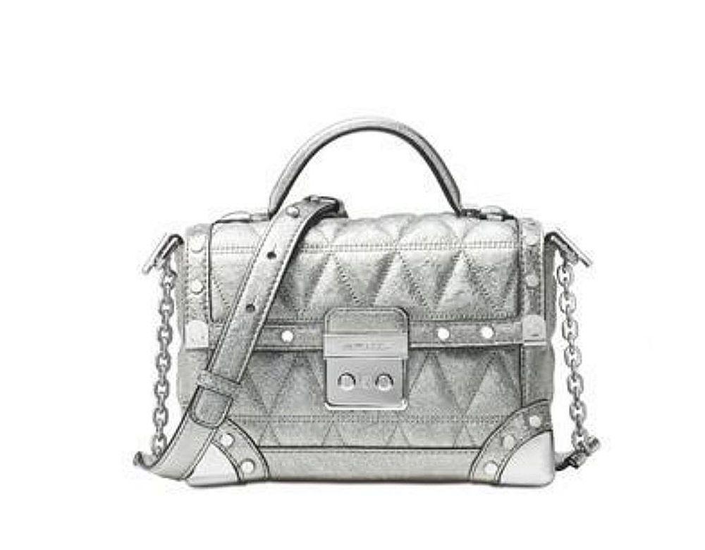 c991678f147 Michael Kors Cori Small Leather Trunk Bag silver purse messenger clutch NWT   MichaelKors  Crossbody