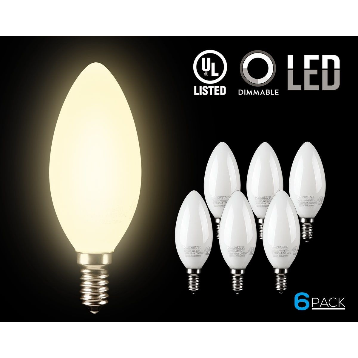 6 Pack 4 5w Dimmable Led C11 Milky Frosted Filament Candle Bulb Soft White E12 Base Bulb Candelabra Bulbs Frosted Glass
