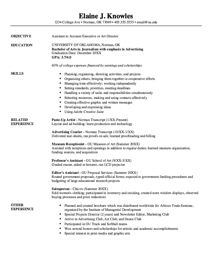 Example Of Assistant Art Director Resume Examples Resume Cv
