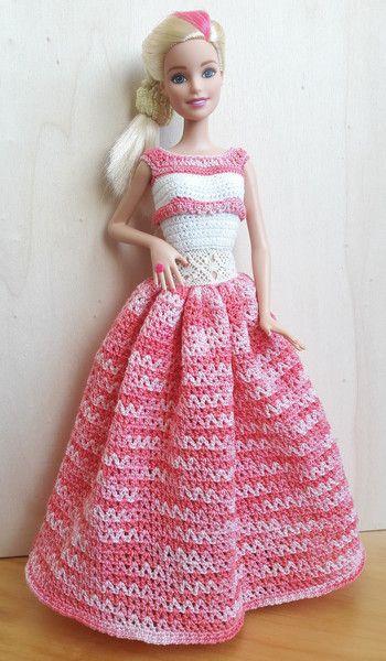Puppenkleidung Barbie Kleid Gehäkelt Melange Weißrosa Ein