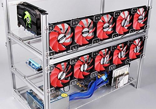 12 Gpu Mining Rig Aluminum Stackable Open Air Mining Case Computer Eth Frame Rig For Bitcon Miner Kit Unassembled Ethereum Soundproof Box Open Air Acrylic Panels
