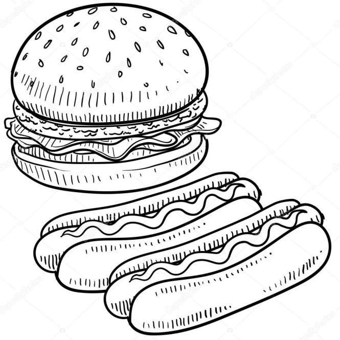 42 Coloring Page Hot Dog Gambar Makanan Stiker