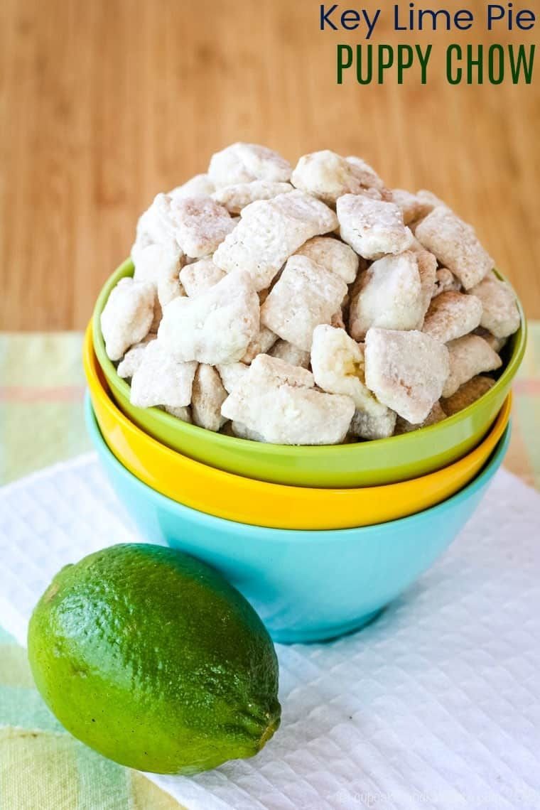 Key Lime Pie Puppy Chow Recipe A Fun Citrus Flavored Version Of Your Favorite Muddy Buddies Chex Sn Puppy Chow Recipes Chex Snack Mix Chex Snack Mix Recipes