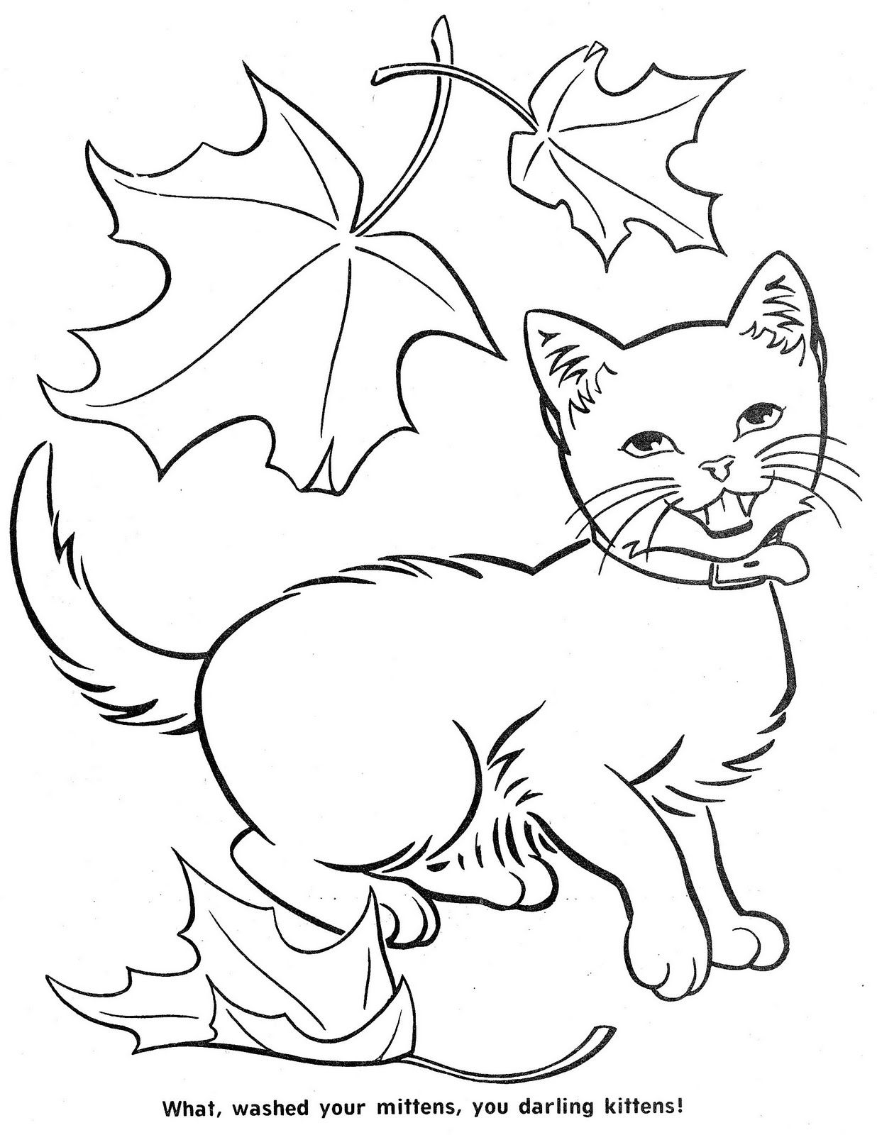 The Three Little Kittens Cat Coloring Page Vintage Coloring