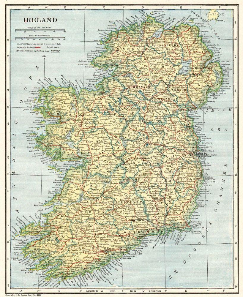 1921 Antique IRELAND Map Original Vintage Map of Ireland Gallery ...