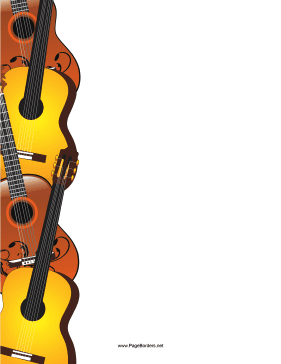 Acoustic guitars run in a column down the left side of