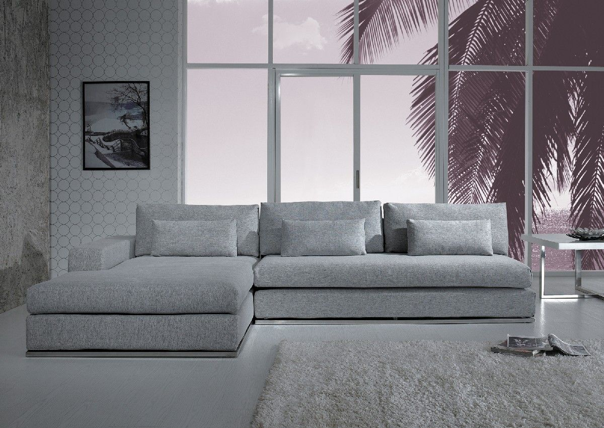 Ashfield Modern Light Grey Fabric Sectional Sofa Grey Sectional Sofa Modern Sofa Sectional Modern Fabric Sectional Sofa