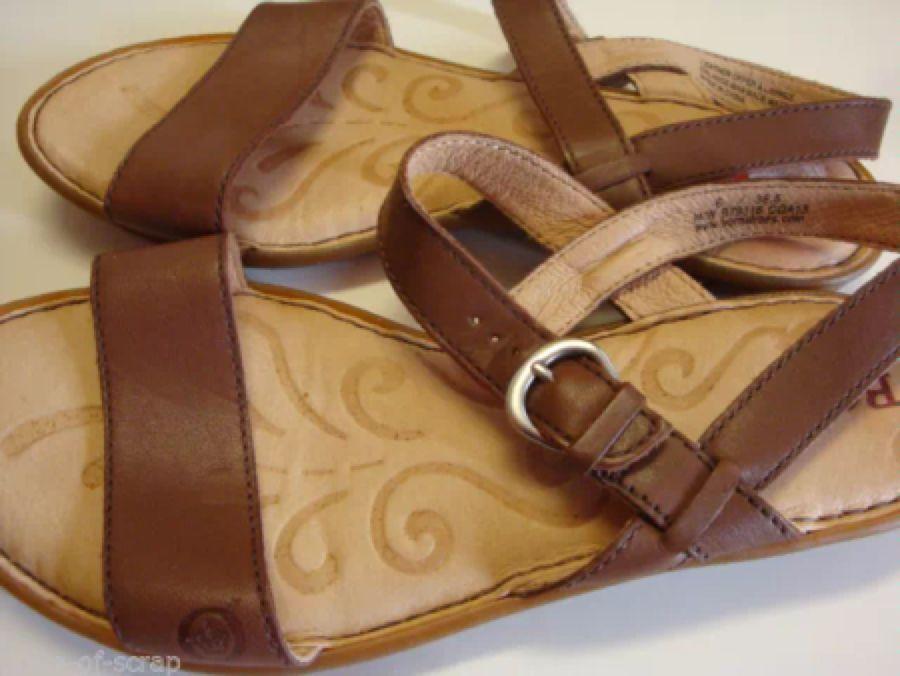 6077ce62c1f4  Sandals  born BORN Ladies Sandals size 6 36.5 Brown leather strap shoes