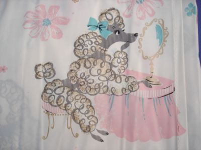 Adorable Vtg 50s Retro Plastic Shower Curtain POODLES Pampered Pink