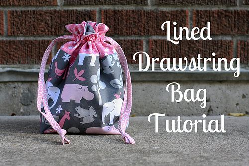 Lined Drawstring Bag {Tutorial} Love the fabric!