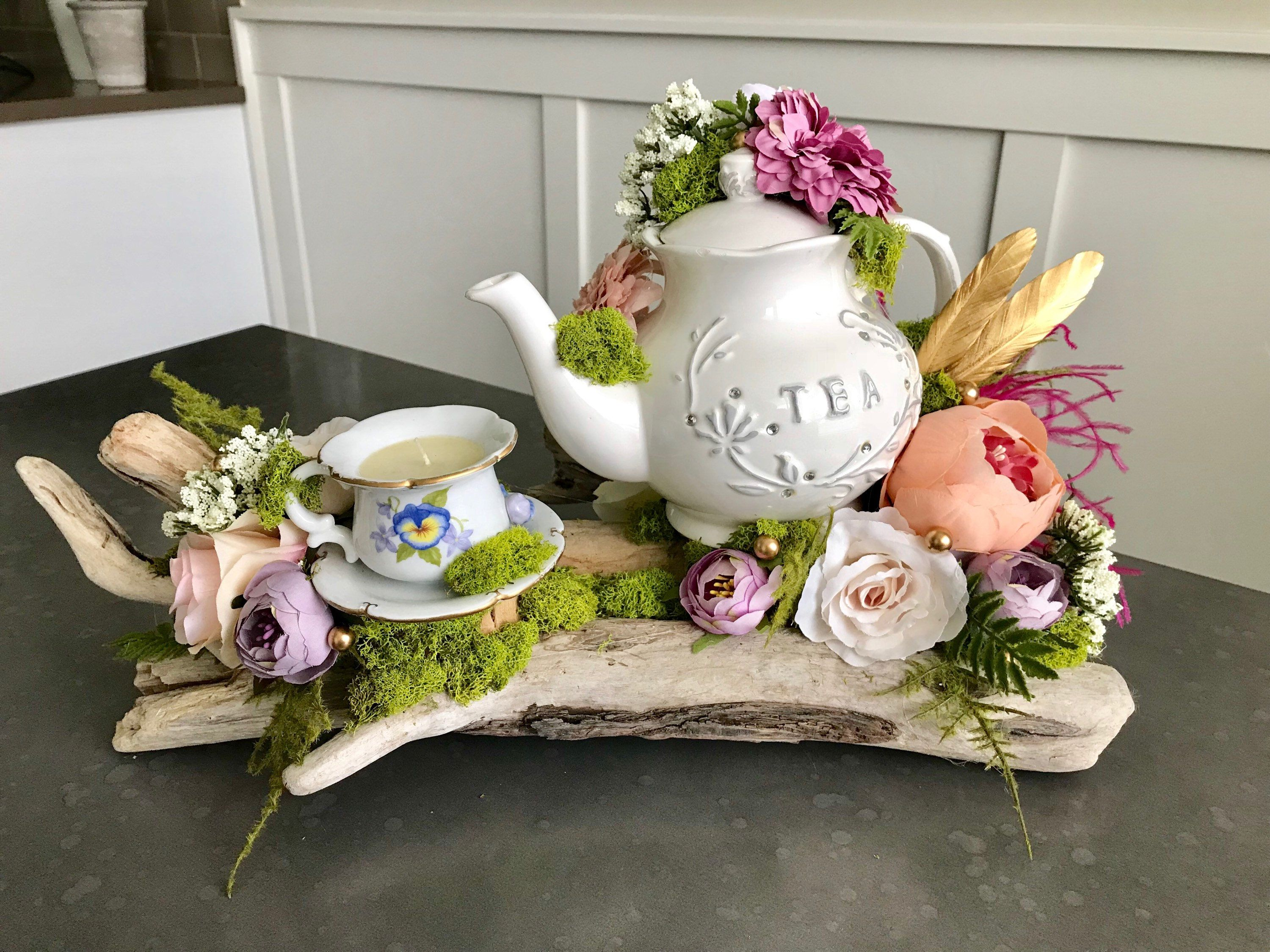 Boho Tea Party Candle Centerpiece Boho Baby Wedding Decor Baby