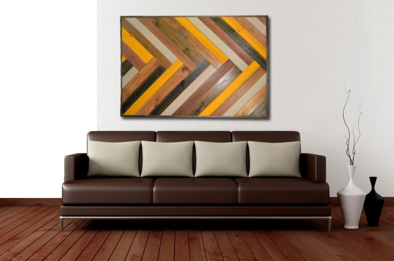 Chevron herringbone reclaimed wood wall art by handmadebysaya
