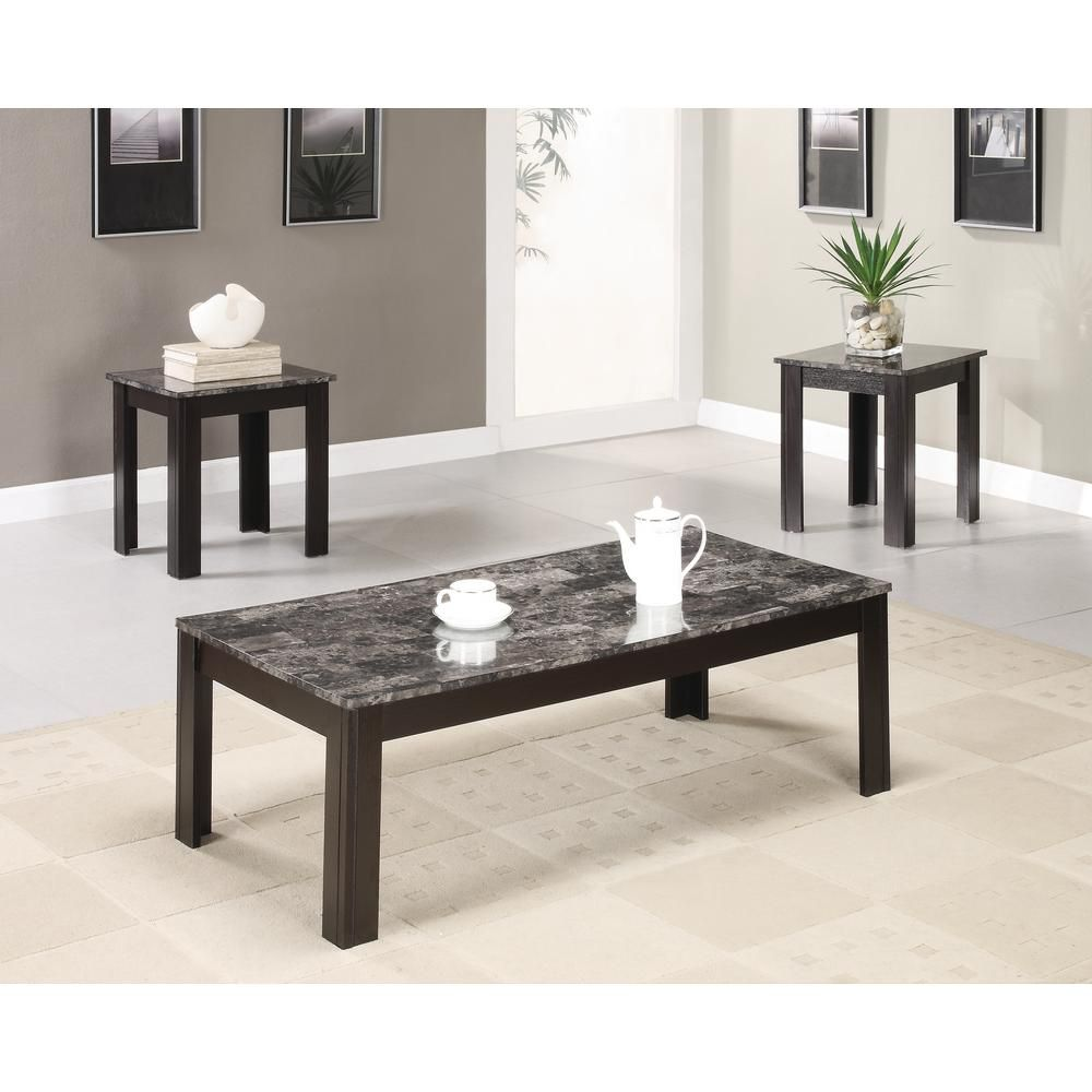 Coaster Black 3 Piece Occasional Table Set With Marble Looking Top