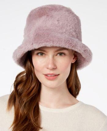 e369e1fbc0b78 Steve Madden Solid Faux-Fur Bucket Hat - Purple
