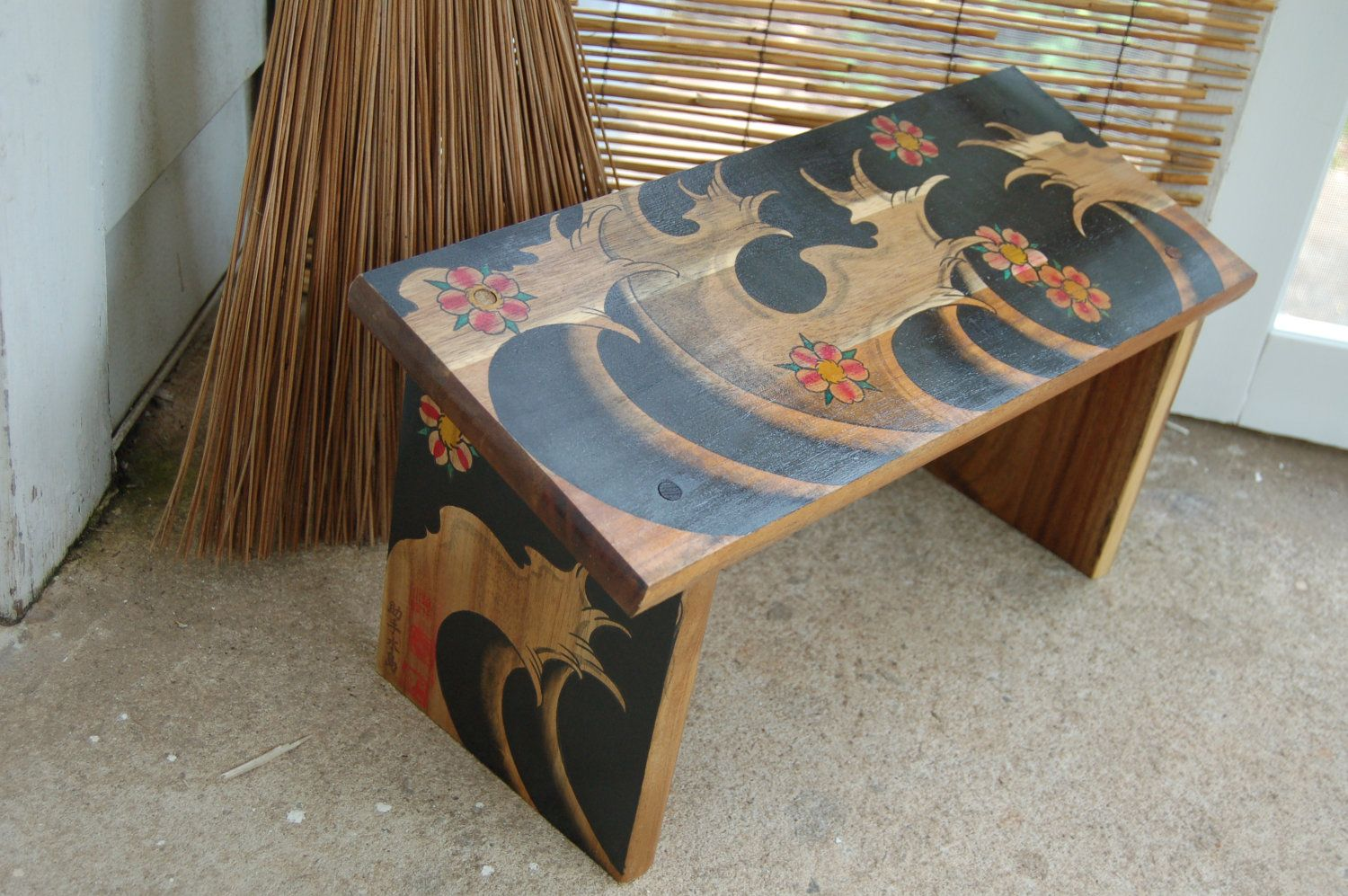 Hand Painted Meditation Seiza Bench Japanese Waves And ...