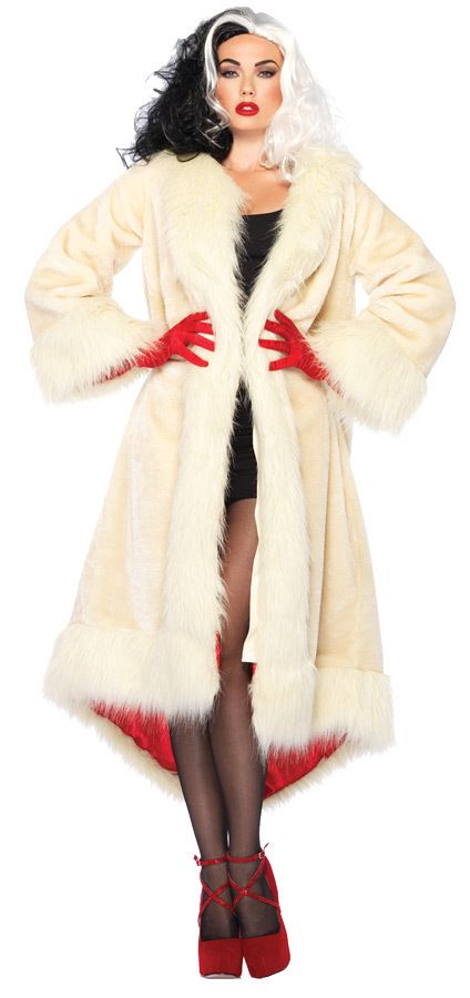 Disney Princess Costume CRUELLA COAT SATIN LINED Adult Costumes - princess halloween costume ideas