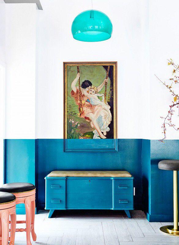 two toned interior half painted walls interior interior design rh pinterest com