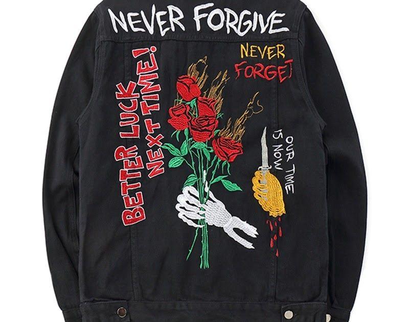 Cheapest Mens Black Denim Bomber Jackets Embroidery Rose