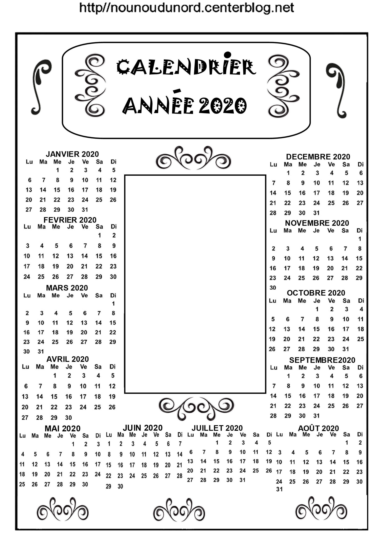 CALENDRIER ANNUEL 2020 POUR AJOUTER 1 PHOTO OU AUTRE | Calendrier
