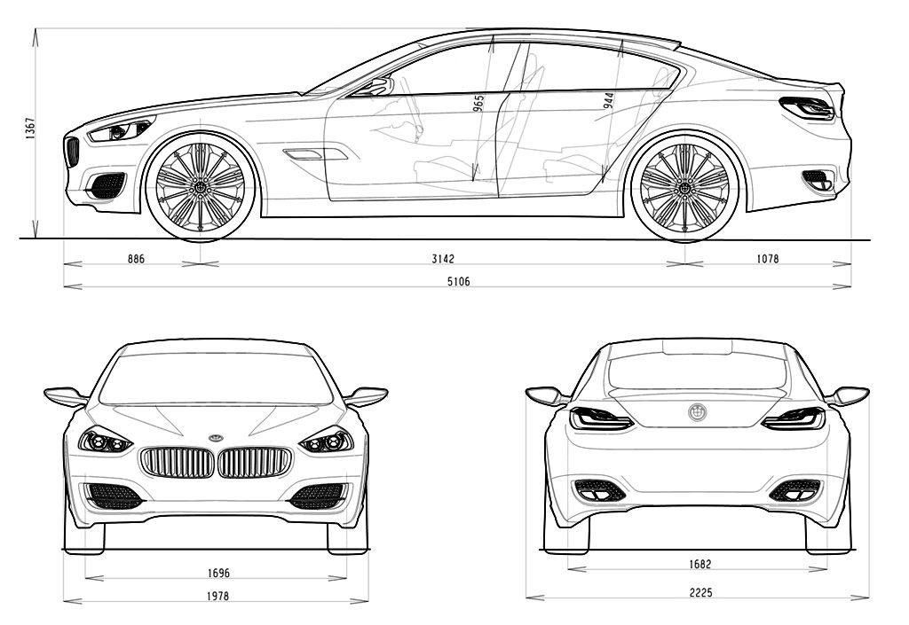 Porsche panamera vs bmw cs concept blueprints for Medidas de un carro arquitectura
