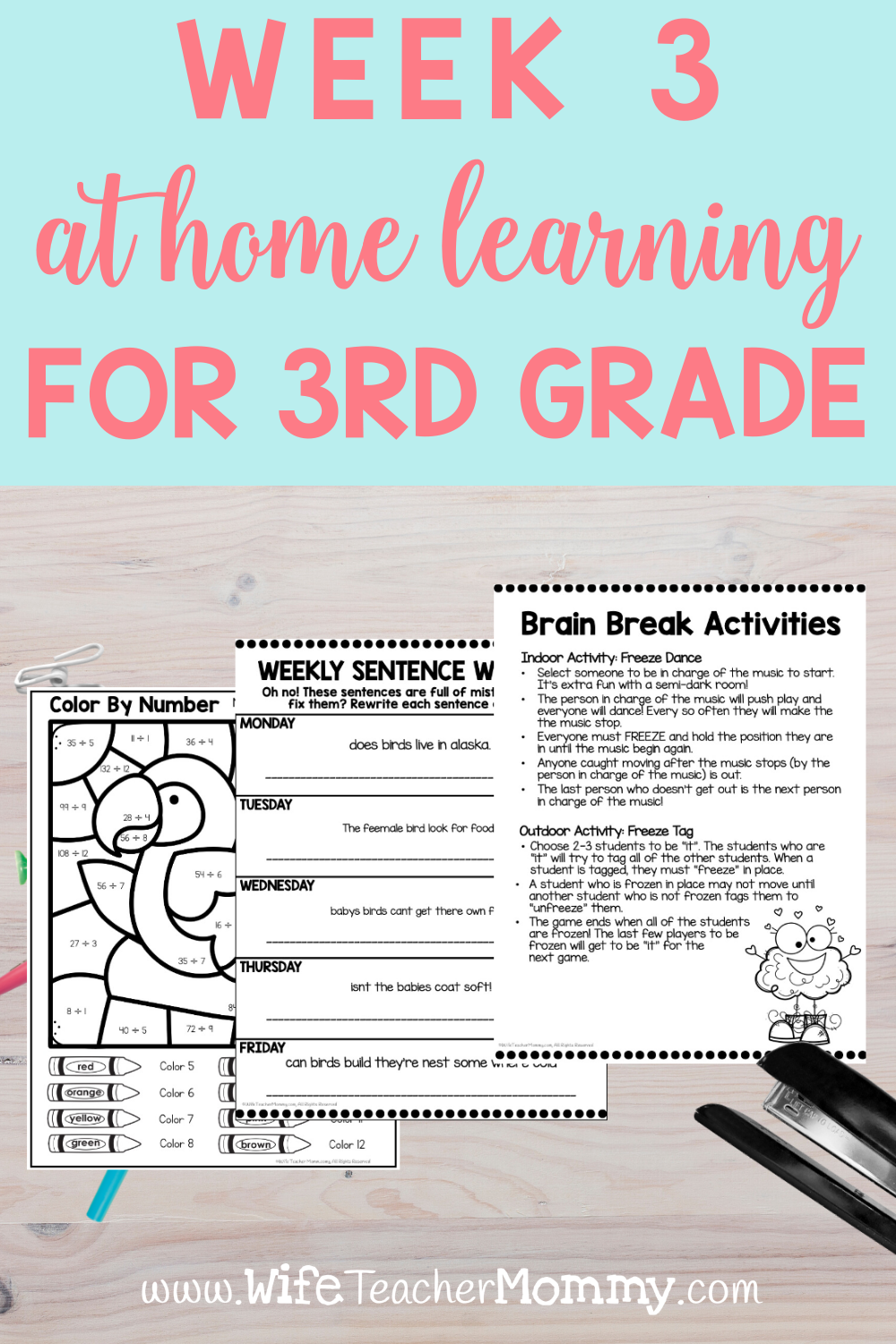 3rd Grade Distance Learning Packet At Home Learning Activities Week 3 Wife Teacher Mommy Distance Learning Math Lesson Plans Homeschool Lesson [ 1500 x 1000 Pixel ]