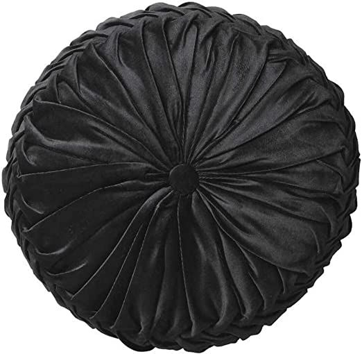 "Cassiel Home 14.5"" Pintuck Round Throw Pillow - Handcrafted Pumpkin Velvet Floor Pillow - Black Throw Pillows Cushion for Chair Couch(Solid Black)"