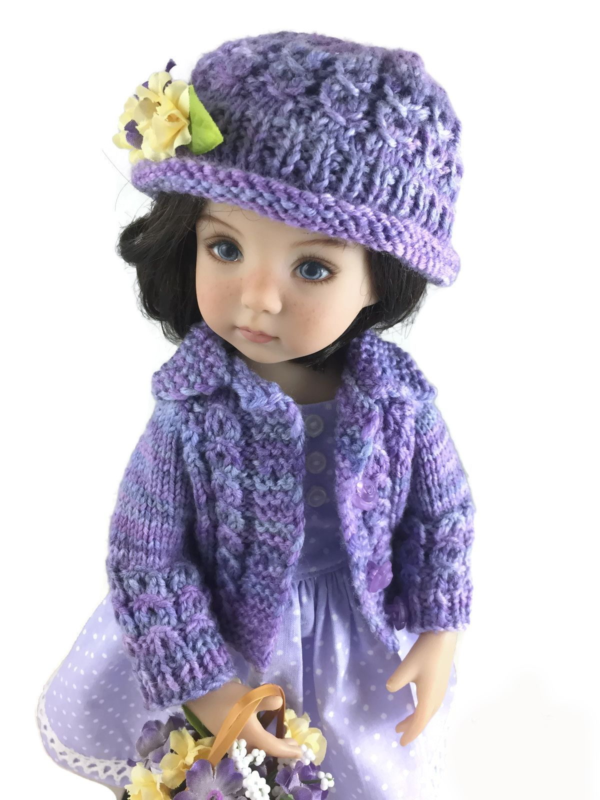 Eyelet Cable Bundle Cardigan and Hat to fit 13 inch Dolls ...