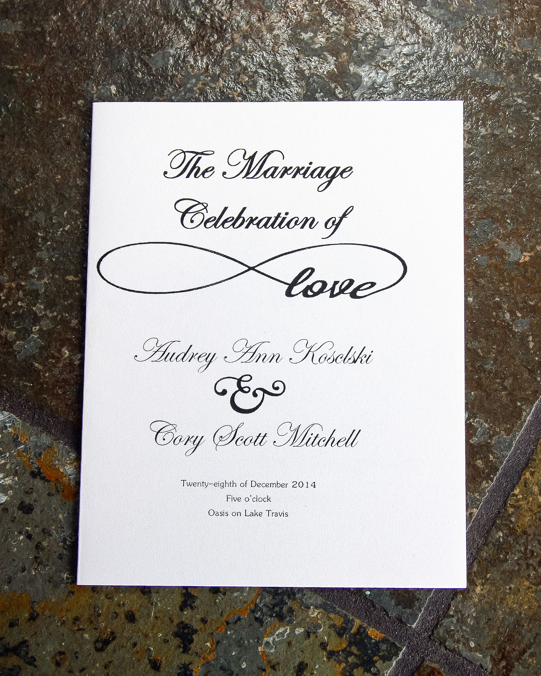 Custom Homemade Wedding Programs On Pearl Metallic Paper From Office Max Depot