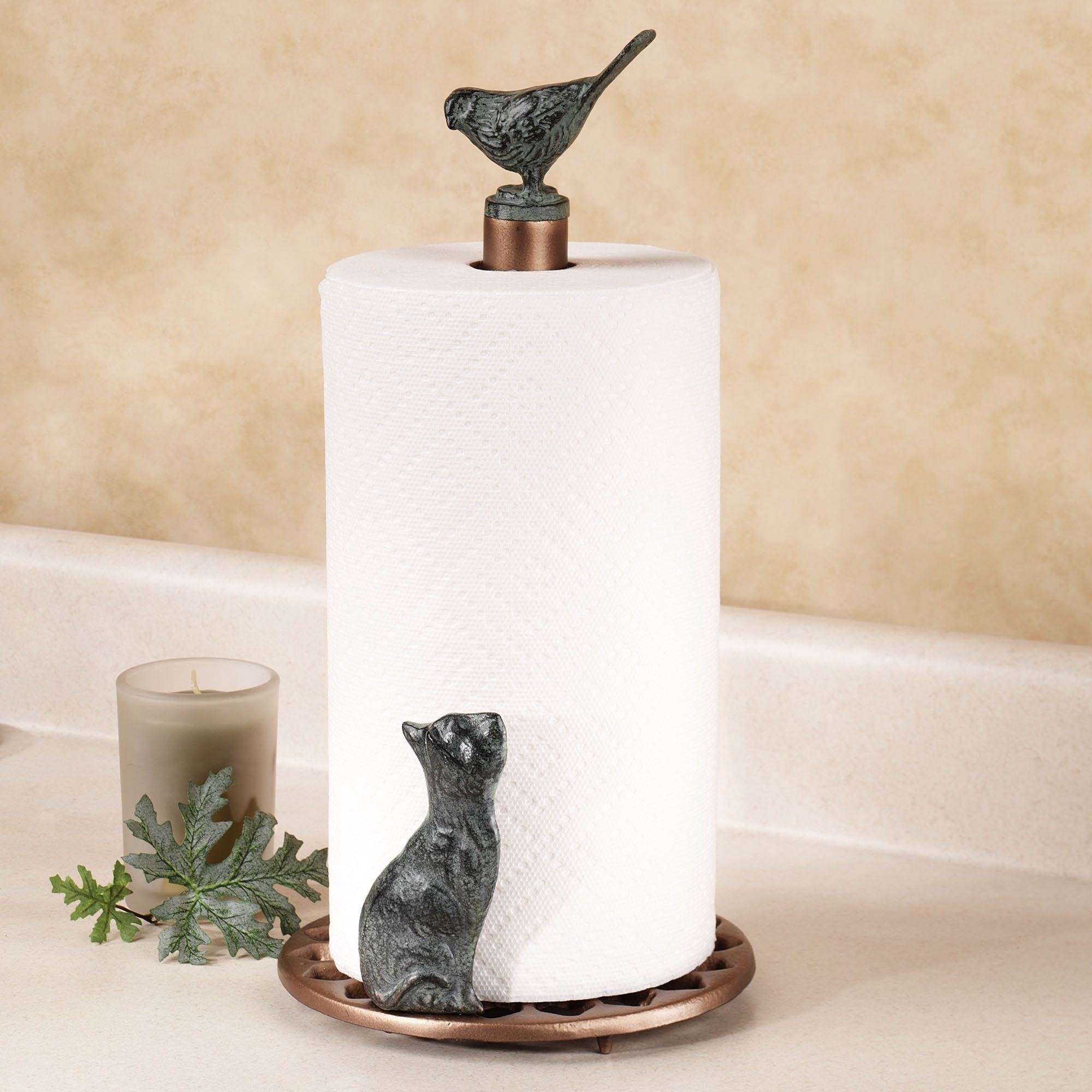 Charming Cat And Bird Metal Paper Towel Holder