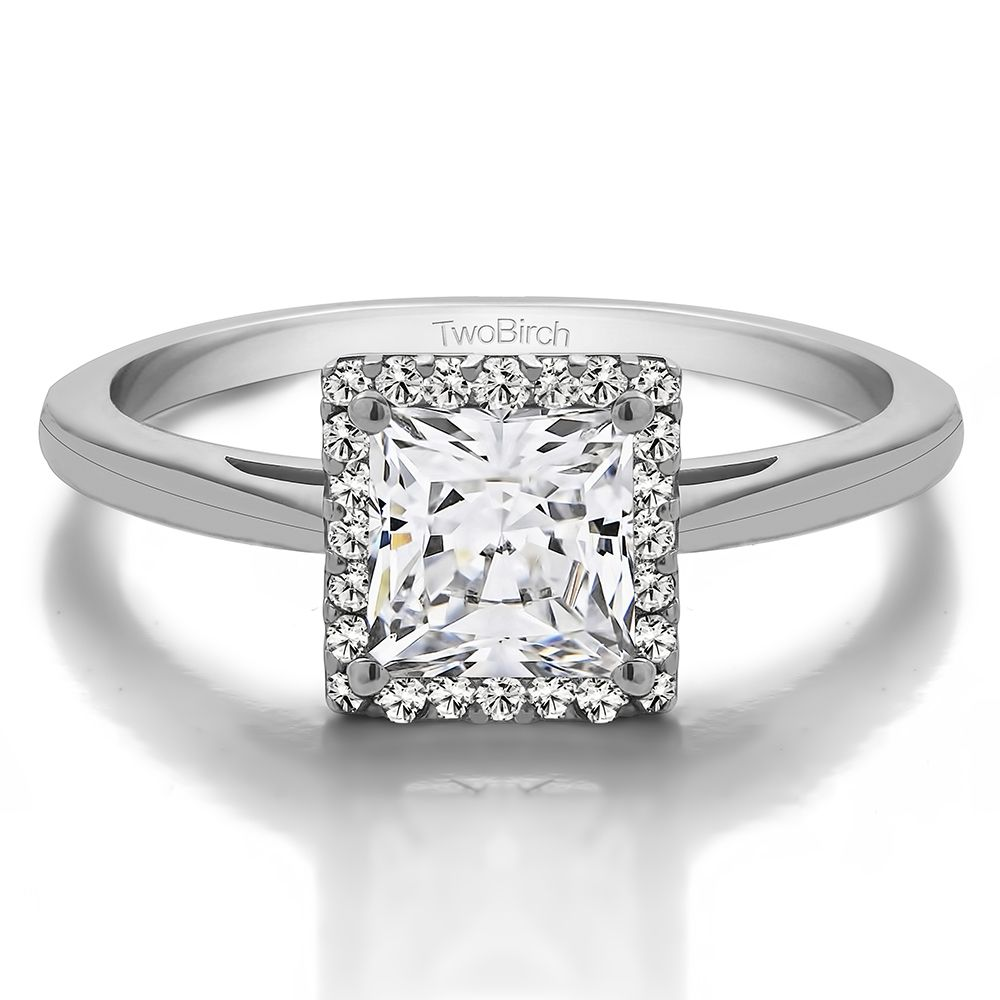 Photo of 1 Ct. Bague de fiançailles halo solitaire coupe princesse Moissanite