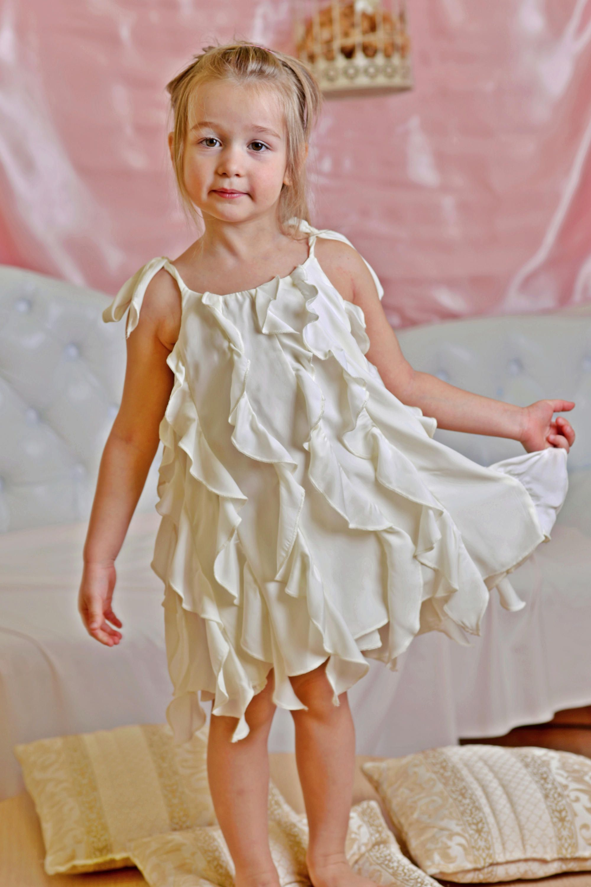 Ruffle dress wedding  White maid of honor dresses for a wedding Bridesmaid gown ruffle